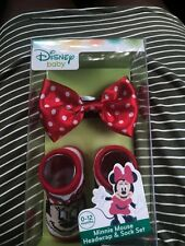 Disney Baby Minnie Mouse Headwrap And Sock Set 0-12 Months