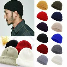 Cuff Beanie Knit Hat Cap Slouchy Skull Ski Men Women Plain Winter Warm Hats