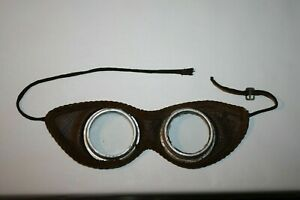 Vintage Antique 1920's leather goggles motorcycle safety glasses