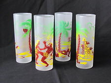 4 Vtg Federal Glass Co Frosted Tom Collins Glasses Giraffe Tropic Natives 6 3/4""