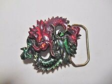 VINTAGE 1978 DUELING DRAGONS LIMITED EDITION COLORED SOLID METAL BELT BUCKLE
