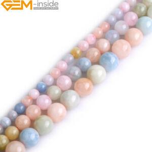 Natural Gemstone Multi-Color Morganite Morgan Round Beads For Jewellery Making
