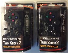Lot of 2 PS2 Wired Double Joysticks Vibration Controls Black Color Free Shipping