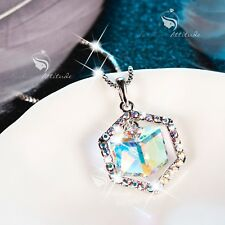 18k white gold made with SWAROVSKI crystal pendant necklace cube drop classic