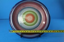 """Colormate Rotunda Multi Color Bands Hand Painted Plate 8"""" Round"""