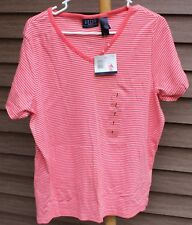 Woman's Peach & White Shirt by Crazy Horse; Size:  2 - New