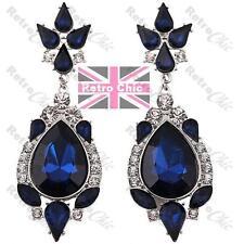BIG RHINESTONE TEARDROP EARRINGS dark blue CHANDELIER silver crystal vintage GP