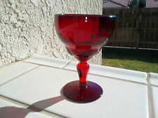 "Ruby Red New Martinsville Moondrops Goblet 4 ¼"" Wine 3oz."
