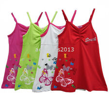 New Girls Butterfly Print Summer Dress Top Pink White Red Green Age 2 - 14 years