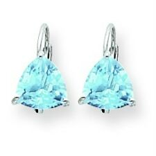 14K White Gold Polished 7mm Trillion Cut Blue Topaz Prong Set Leverback Earrings