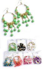 Gold-Tone Multi Bead & Rhinestone Dangle Drop HoopChandelier Earrings -E426