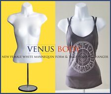 Woman Mannequin Body Dress Form White Haning + Matal base