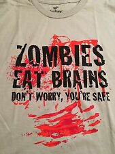 New Teefury Men's Large T-shirt Zombies Eat Brains Don't Worry, You're Safe