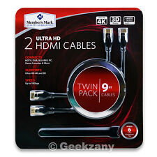 Members Mark 2 Ultra HD Twin Pack 9ft HDMI Cables, Bonus 6 cable Management Ties