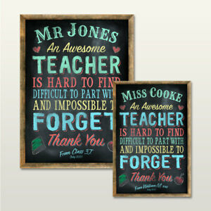 PERSONALISED TEACHERS CHALKBOARD EFFECT WALL PLAQUE/SIGN END OF TERM GIFT