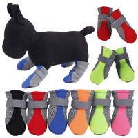 4* Puppies Dog Shoes Anti-slip Summer Pet Boots Paw Protector Reflective Strap A