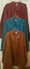 CATHERINES FAUX SUEDE VELOUR BUTTON FRONT SHIRT TOP 4X TEAL