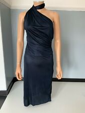 Costume National NEW Navy Satin Wrap Dress Size It42 Uk 8 BNWTS Rare Collection
