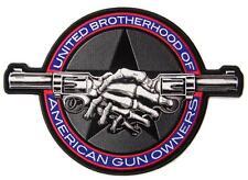 UNITED BROTHERHOOD SKELETON HAND SHAKE GUN BACK PATCH #9480 EMBROIDERED 4 IN