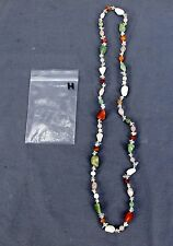Handmade Natural Gem Stone Chip Necklace 32'' Multi Colored Quarts Lot-H