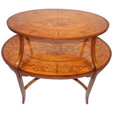 1890 English Edwardian Inlaid Satinwood Tea Table
