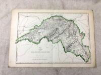 Mappa Antica Edimburgo Scozia Edinburghshire 19th Secolo Vecchio Mano Colorato
