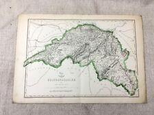 Antique Map Edinburgh Scotland Edinburghshire 19th Century Old Hand Coloured