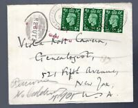Great Britain 1938 RTS cover to USA nice handstamps!