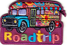 """ROAD TRIP"" IRON ON EMBROIDERED PATCH - VACATION - TRAVEL - BUS - SIGHTSEEING"