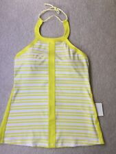 NWT Lululemon Hip To Be Zen Halter 8 Twin Stripe Sizzle Yellow BeZen Top Tank