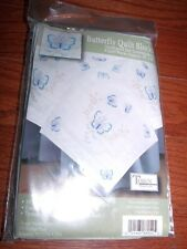 "Tobin 6 Stamped Quilt Blocks BUTTERFLIES 18"" Squares"