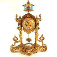 ANTIQUE FRENCH ORMOLU PORCELAIN PILLAR MANTEL CLOCK JAPY FRERES SEVRES