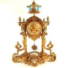 Antico Francese ORMOLU PORCELLANA pilastro Mensola Orologio Japy Freres SEVRES