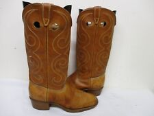 Acme Tan Leather Buckaroo Cowboy Boots Youth Size 6 D Style 2317 Usa