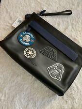 NWT - $328 COACH x Star Wars Leather Carryall Pouch With Patches Qb/Black F81133