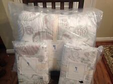 7pc Pottery Barn Kids Evelyn Quilt Sheet Standard Shams Full Sage Green NWT