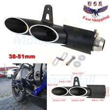 Dual Outlet Motorcycle Exhaust Muffler Tail Pipe Slip on 38mm-51mm Universal
