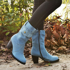 Women Mid Calf Denim Boots Chunky Heels Side Zip Biker Retro Casual Warm Shoe Sz