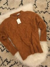 Zara Mustard Chunky Cable Knit Sweater Jumper With Wool Medium BNWT