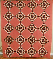 Large Beautiful Vintage 1860's Carpenter's Wheel Broken Stars Antique Quilt!