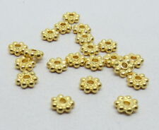 20 Pieces 22K Gold Beads Vermeil Spacer 925 Sterling Silver 4mm Daisy Bali Beads
