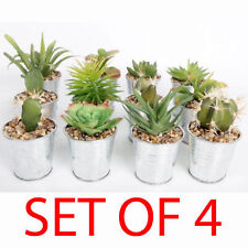 SET OF 4 SUCCULENT PLANT FLOWER CACTUS IN TINPOT DECORATION ARTIFICIAL HOME NEW