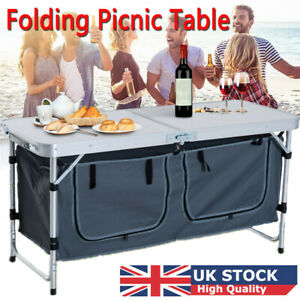 Portable Folding Camping Table Picnic BBQ Desk Kitchen Outdoor with Storage Bag