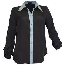 Melrose Bluse Nieten Jeanskragen in schwarz , Gr.36 - Neu