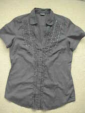 ESPRIT CHARCOAL GREY & SEQUIN SHORT SLEEVE SMART CASUAL SHIRT BNWOT