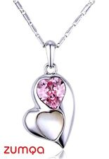 Swarovski Pink Hearts on Heart Necklace by ZUMQA COD PAYPAL