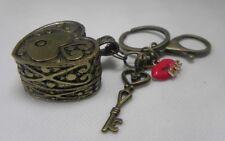 Blush Red Lips LOVE Key Heart Promise Box Bronze KEY CHAIN