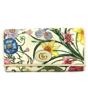 GUCCI GG Logo Flower Canvas Leather Long Bifold Wallet /C0381