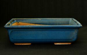Vintage Bonsai Pot Blue Rectangular Genuine Japanese From JP