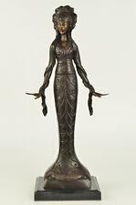 Signed Native American Indian Girl Dec Statue Figurine Bronze Sculpture Figure
